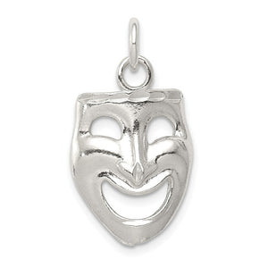 Sterling Silver Polished Comedy Mask Pendant - The Black Bow Jewelry Co.