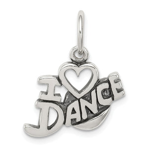 Sterling Silver Antiqued I Heart Dance Script Charm - The Black Bow Jewelry Co.