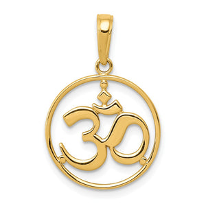 14k Yellow Gold OM Yoga Symbol Pendant, 16mm - The Black Bow Jewelry Co.