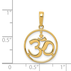 Alternate view of the 14k Yellow Gold OM Yoga Symbol Pendant, 16mm by The Black Bow Jewelry Co.