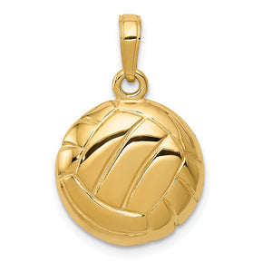 14k Yellow Gold Polished Volleyball Pendant, 15mm - The Black Bow Jewelry Co.