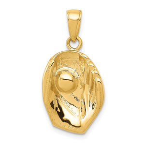 14k Yellow Gold Baseball Glove and Ball Pendant - The Black Bow Jewelry Co.