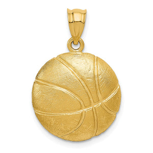 14k Yellow Gold Satin Basketball Pendant, 17mm - The Black Bow Jewelry Co.