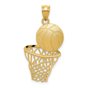 14k Yellow Gold Satin & Diamond Cut Basketball and Net Pendant - The Black Bow Jewelry Co.