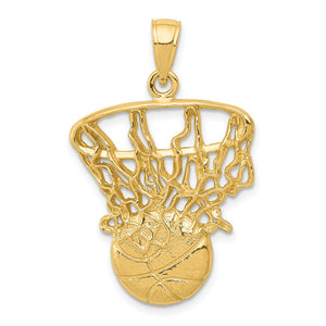 14k Yellow Gold Large Swoosh Basketball Through Net Pendant - The Black Bow Jewelry Co.