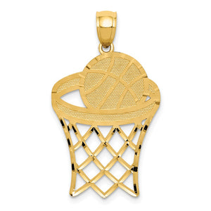 14k Yellow Gold Large Diamond Cut Basketball Hoop & Ball Pendant - The Black Bow Jewelry Co.