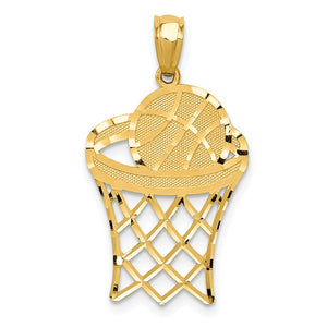 14k Yellow Gold Diamond Cut Basketball Hoop and Ball Pendant - The Black Bow Jewelry Co.