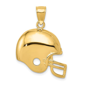 14k Yellow Gold Polished Football Helmet Pendant, 22mm - The Black Bow Jewelry Co.