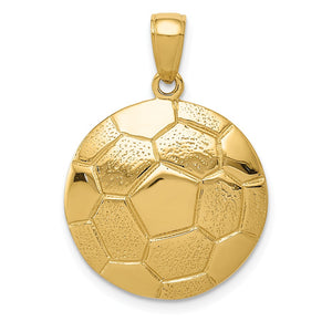 14k Yellow Gold Soccer Ball Pendant, 18mm - The Black Bow Jewelry Co.