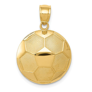 14k Yellow Gold Satin and Polished Soccer Ball Pendant, 17mm - The Black Bow Jewelry Co.