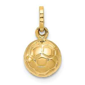 14k Yellow Gold Polished 3D Soccer Ball Pendant, 8mm - The Black Bow Jewelry Co.