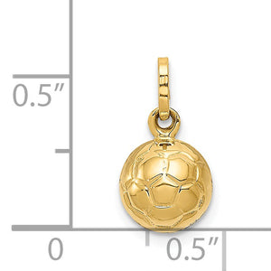 Alternate view of the 14k Yellow Gold Polished 3D Soccer Ball Pendant, 8mm by The Black Bow Jewelry Co.
