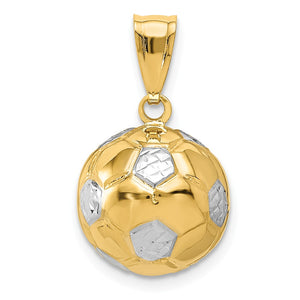 14k Yellow Gold & White Rhodium 3D Hollow Soccer Ball Pendant, 13mm - The Black Bow Jewelry Co.