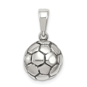 Sterling Silver 11mm Antiqued 3D Soccer Ball Pendant - The Black Bow Jewelry Co.