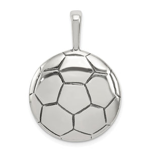 Sterling Silver 22mm Domed Antiqued Soccer Ball Pendant - The Black Bow Jewelry Co.
