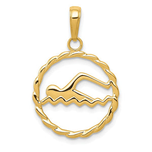 14k Yellow Gold 16mm Swimming Pendant - The Black Bow Jewelry Co.