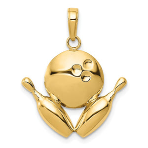 14k Yellow Gold Diamond Cut Bowling Ball and Pins Pendant - The Black Bow Jewelry Co.
