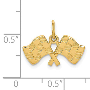 14k Yellow Gold Checkered Racing Flags Charm