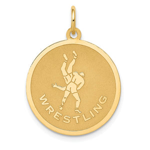 14k Yellow Gold Wrestling Disc Pendant, 19mm - The Black Bow Jewelry Co.