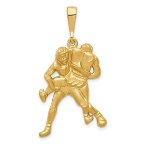 14k Yellow Gold Satin Wrestlers Pendant - The Black Bow Jewelry Co.