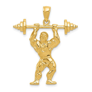 14k Yellow Gold Bodybuilder with Barbell Pendant - The Black Bow Jewelry Co.