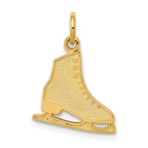 14k Yellow Gold Textured Flat Figure Skate Pendant - The Black Bow Jewelry Co.