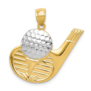 14k Yellow Gold & White Rhodium Large Golf Club & Ball Pendant - The Black Bow Jewelry Co.
