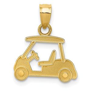 14k Yellow Gold Satin Golf Cart Pendant - The Black Bow Jewelry Co.
