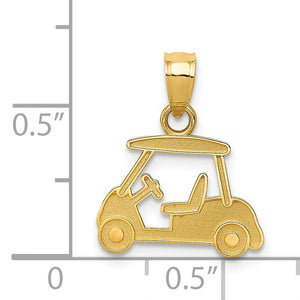 Alternate view of the 14k Yellow Gold Satin Golf Cart Pendant by The Black Bow Jewelry Co.