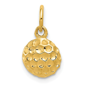 14k Yellow Gold Polished Golf Ball Pendant, 9mm - The Black Bow Jewelry Co.