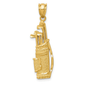 14k Yellow Gold Satin and Diamond Cut Golf Bag with Clubs Pendant - The Black Bow Jewelry Co.