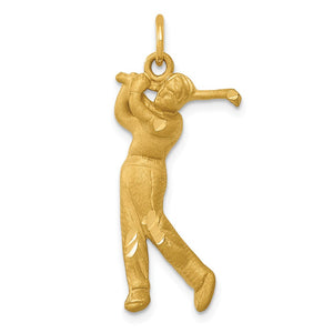 14k Yellow Gold Satin and Diamond Cut Male Golfer Pendant - The Black Bow Jewelry Co.