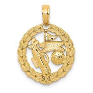 14k Yellow Gold 16mm Golf Themed Pendant - The Black Bow Jewelry Co.