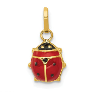 14k Yellow Gold 3D Red Enameled Ladybug Charm, 9mm - The Black Bow Jewelry Co.