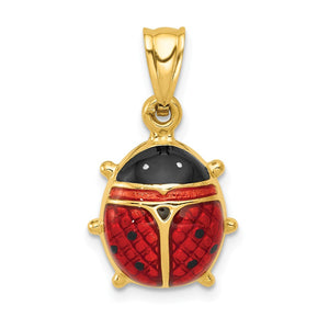 14k Yellow Gold 3D Red Enameled Ladybug Pendant, 15mm - The Black Bow Jewelry Co.
