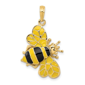 14k Yellow Gold and Enamel 3D Bumblebee Pendant - The Black Bow Jewelry Co.