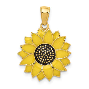 14k Yellow Gold 18mm Yellow Enameled Sunflower Pendant - The Black Bow Jewelry Co.