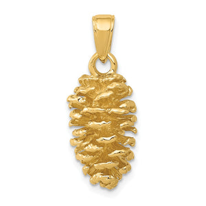 14k Yellow Gold 3D Polished Pinecone Pendant - The Black Bow Jewelry Co.