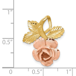 Alternate view of the 14k Yellow and Rose Gold, Two Tone Vined Rose Slide Pendant by The Black Bow Jewelry Co.