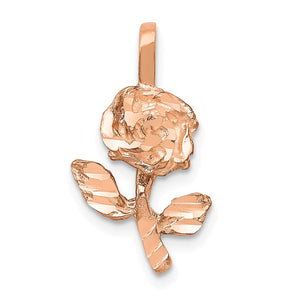14k Rose Gold Diamond Cut Stemmed Rose Flower Charm - The Black Bow Jewelry Co.