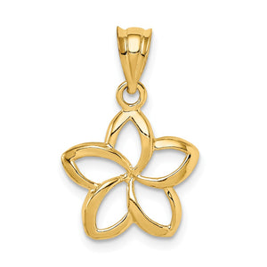 14k Yellow Gold 14mm Plumeria Silhouette Pendant - The Black Bow Jewelry Co.