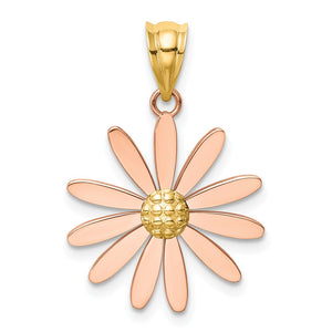 14k Two Tone Gold 18mm Pink Daisy Pendant - The Black Bow Jewelry Co.