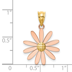 Alternate view of the 14k Two Tone Gold 18mm Pink Daisy Pendant by The Black Bow Jewelry Co.