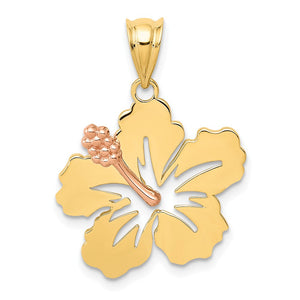 14k Yellow and Rose Gold 18mm Hibiscus Flower Pendant - The Black Bow Jewelry Co.