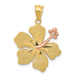 14k Yellow and Rose Gold 20mm Hibiscus Flower Pendant - The Black Bow Jewelry Co.