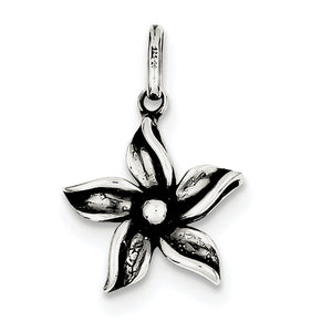 Sterling Silver Antiqued Flower Pendant, 16mm - The Black Bow Jewelry Co.