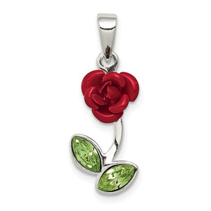 Sterling Silver, Enamel and CZ 3D Red Rose and Green Leaf Pendant - The Black Bow Jewelry Co.