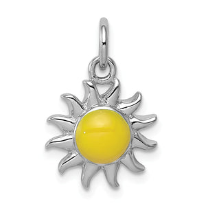 Sterling Silver Enameled 13mm Yellow Sun Charm - The Black Bow Jewelry Co.