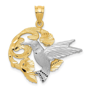 14k Yellow and White Gold 28mm Hummingbird and Flower Pendant - The Black Bow Jewelry Co.