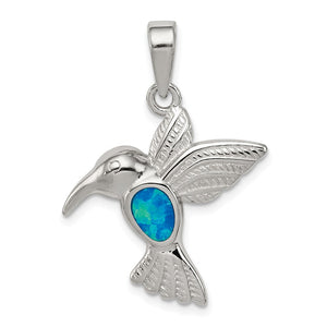 Sterling Silver and Created Blue Opal Inlay Hummingbird Pendant - The Black Bow Jewelry Co.